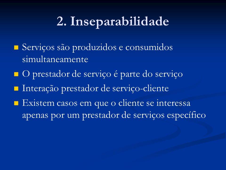 2. Inseparabilidade Serviços são produzidos e consumidos simultaneamente. O prestador de serviço é parte do serviço.