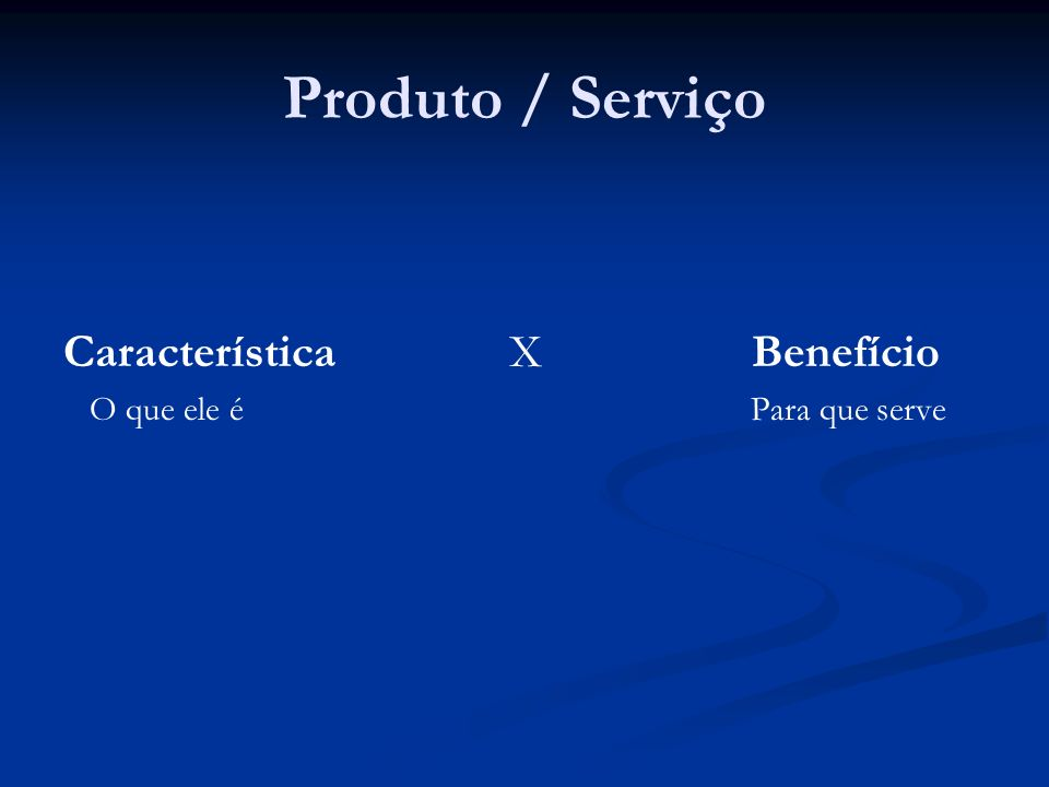 Produto / Serviço Característica X Benefício