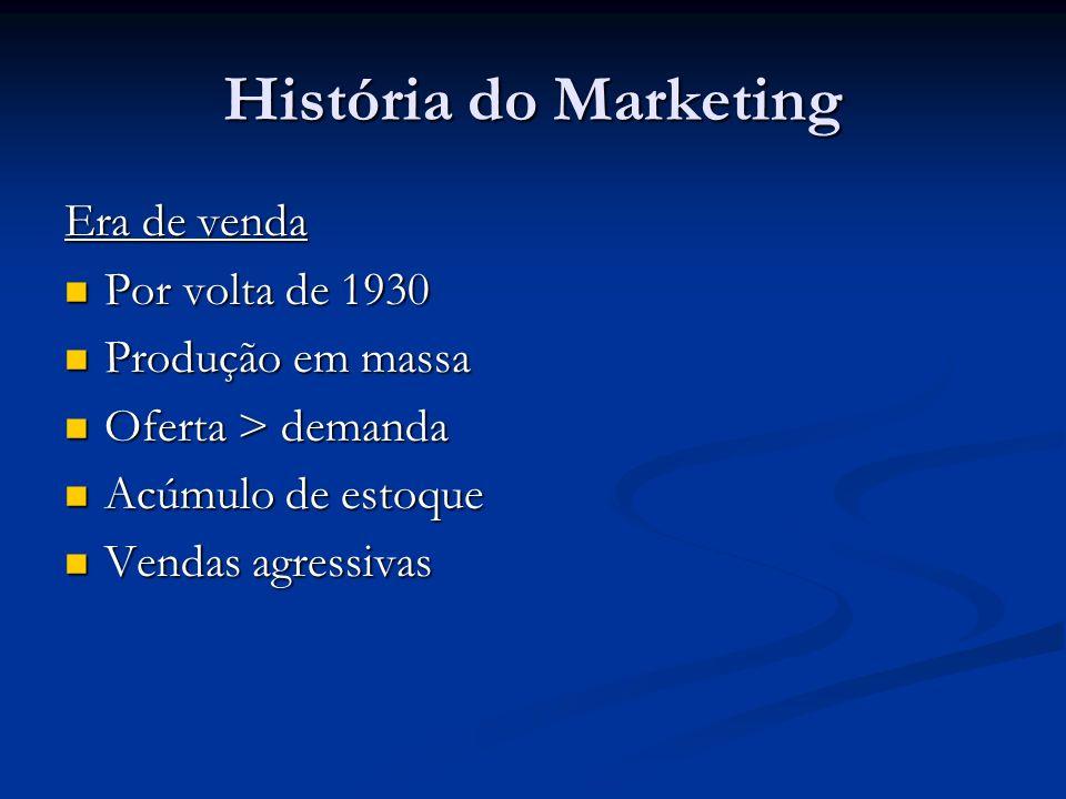 História do Marketing Era de venda Por volta de 1930 Produção em massa