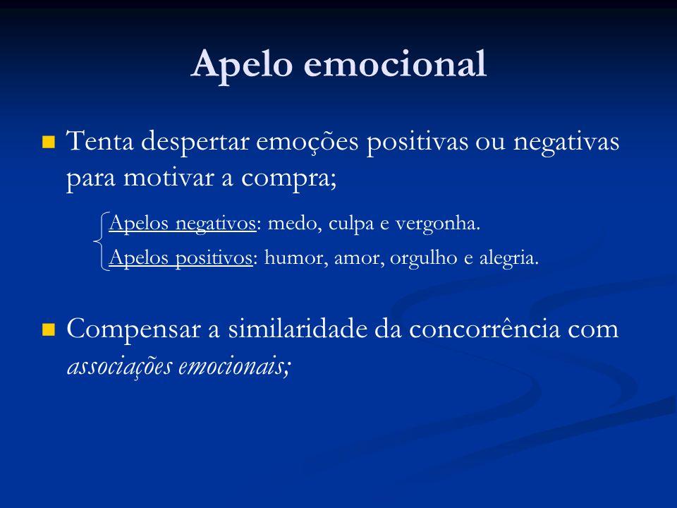 Apelo emocional Tenta despertar emoções positivas ou negativas para motivar a compra; Apelos negativos: medo, culpa e vergonha.