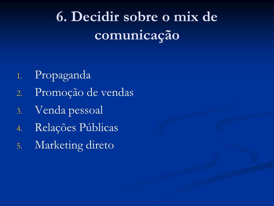 6. Decidir sobre o mix de comunicação