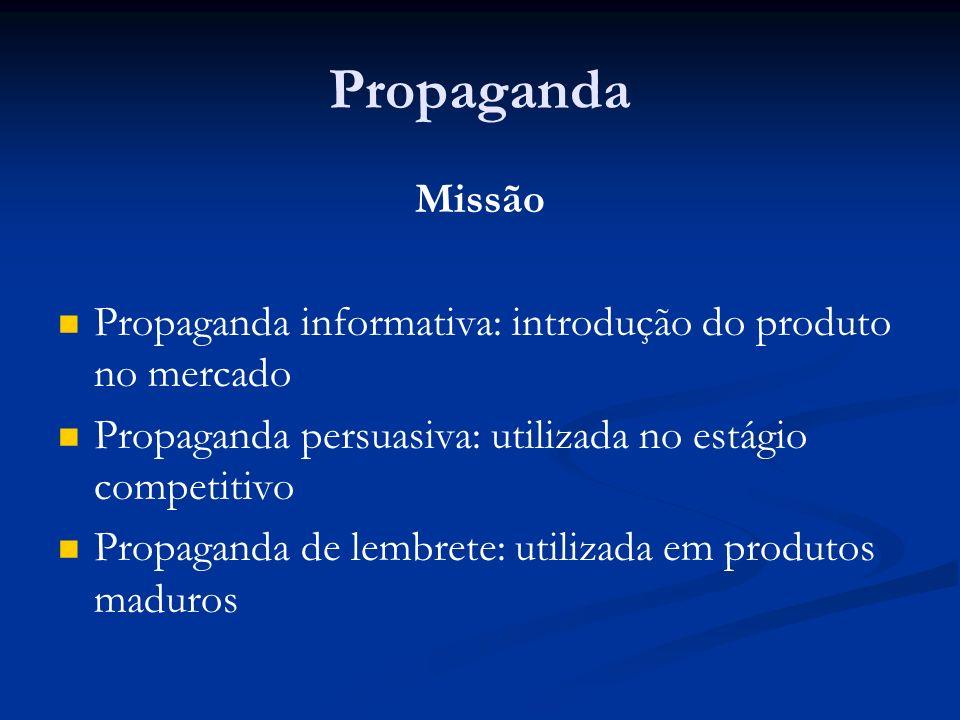 Propaganda Missão. Propaganda informativa: introdução do produto no mercado. Propaganda persuasiva: utilizada no estágio competitivo.