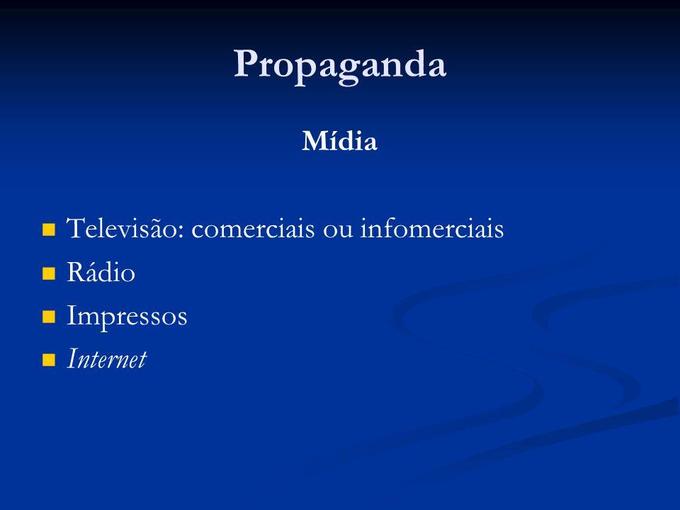 Propaganda Mídia Televisão: comerciais ou infomerciais Rádio Impressos
