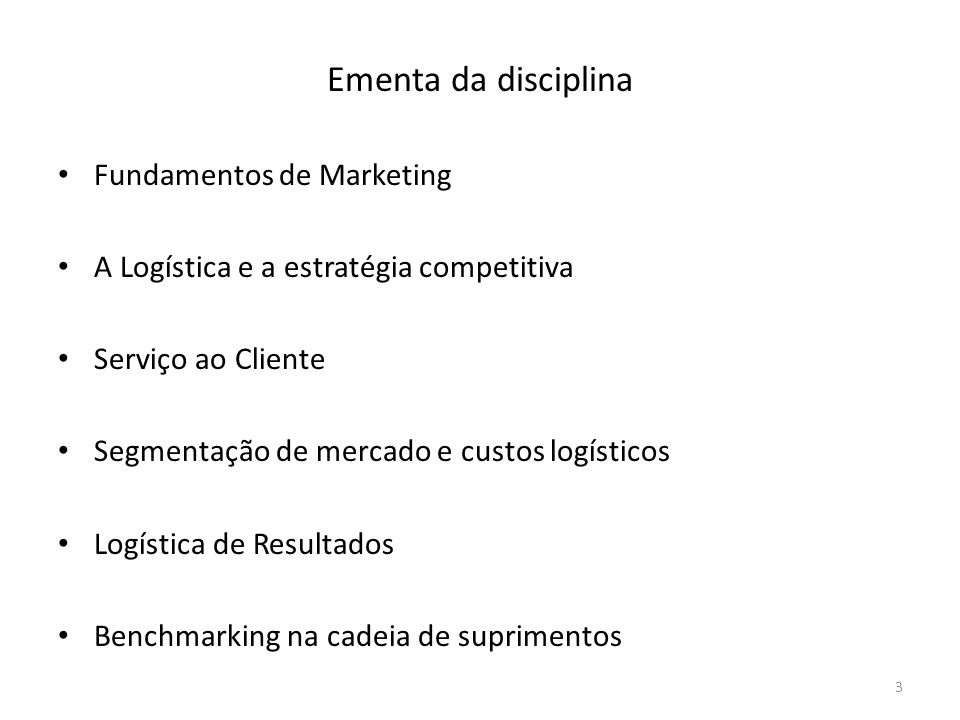 Ementa da disciplina Fundamentos de Marketing