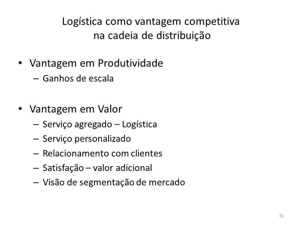 Logística como vantagem competitiva na cadeia de distribuição