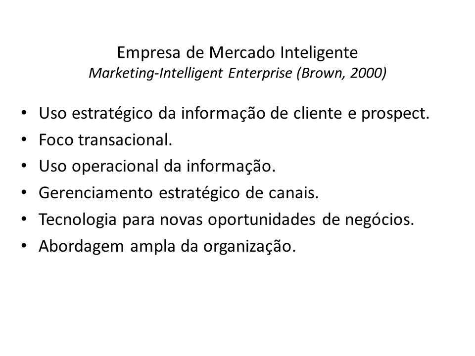 Empresa de Mercado Inteligente Marketing-Intelligent Enterprise (Brown, 2000)