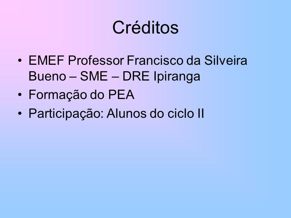 Créditos EMEF Professor Francisco da Silveira Bueno – SME – DRE Ipiranga.