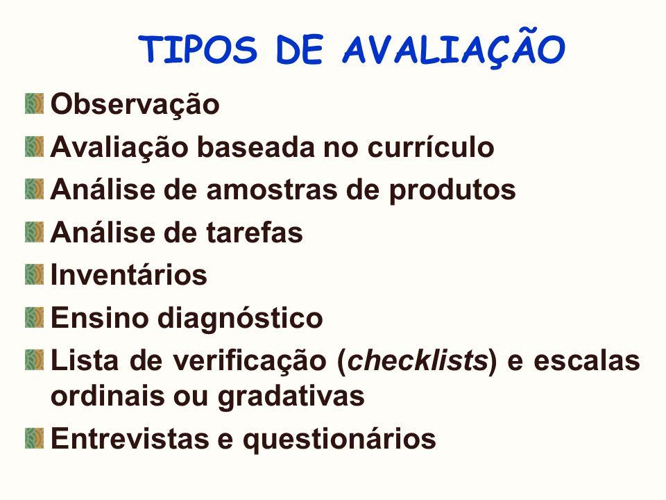 TIPOS DE AVALIAÇÃO Observação Avaliação baseada no currículo