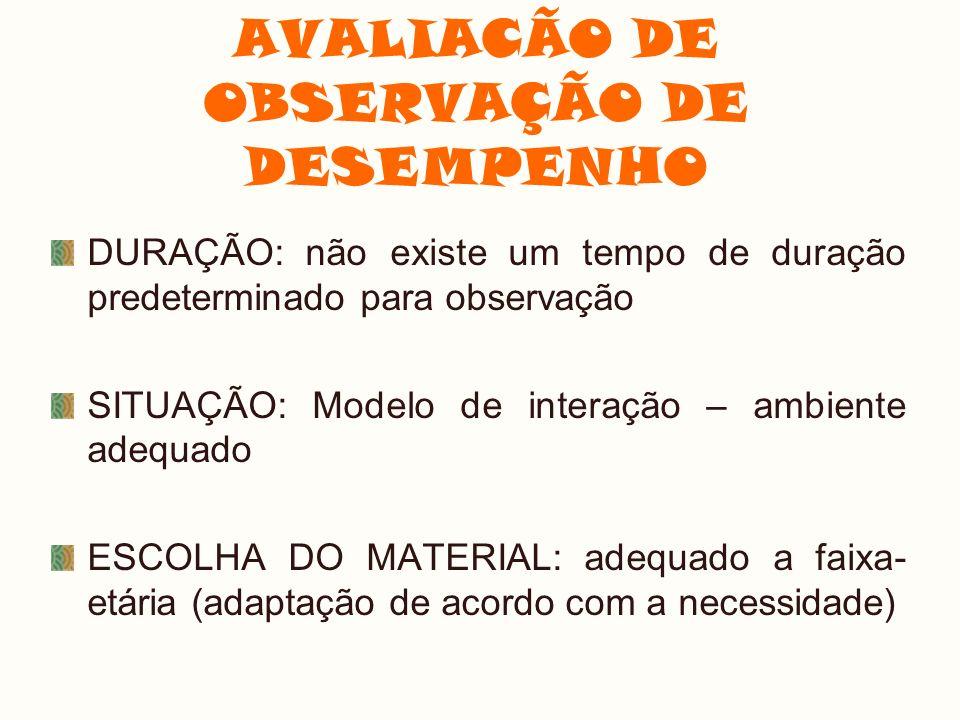 AVALIACÃO DE OBSERVAÇÃO DE DESEMPENHO
