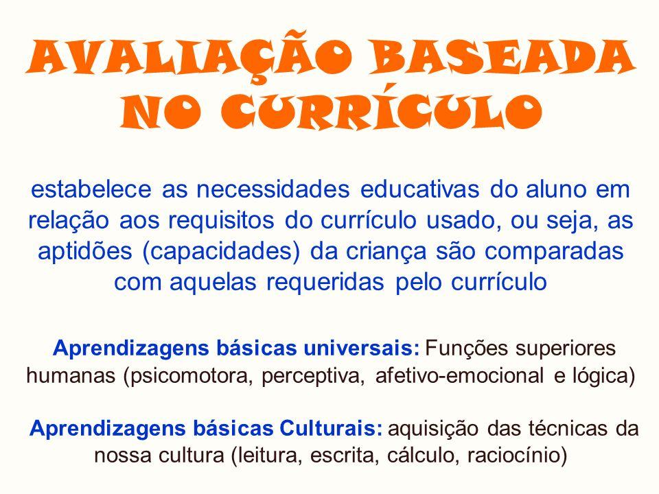 AVALIAÇÃO BASEADA NO CURRÍCULO estabelece as necessidades educativas do aluno em relação aos requisitos do currículo usado, ou seja, as aptidões (capacidades) da criança são comparadas com aquelas requeridas pelo currículo Aprendizagens básicas universais: Funções superiores humanas (psicomotora, perceptiva, afetivo-emocional e lógica) Aprendizagens básicas Culturais: aquisição das técnicas da nossa cultura (leitura, escrita, cálculo, raciocínio)
