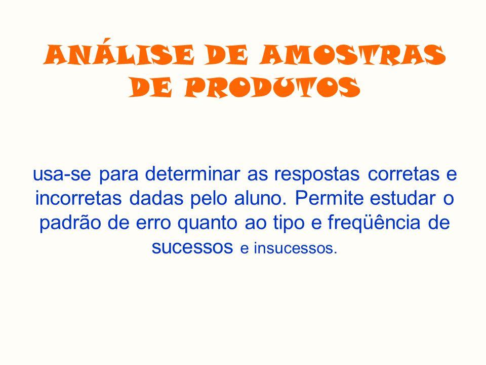 ANÁLISE DE AMOSTRAS DE PRODUTOS usa-se para determinar as respostas corretas e incorretas dadas pelo aluno.