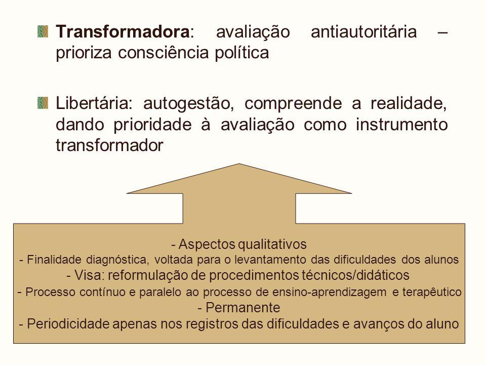 Transformadora: avaliação antiautoritária – prioriza consciência política