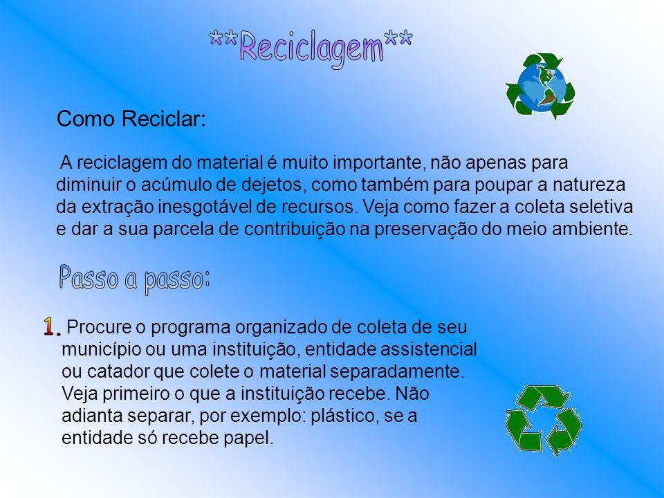 **Reciclagem** Como Reciclar: Passo a passo: