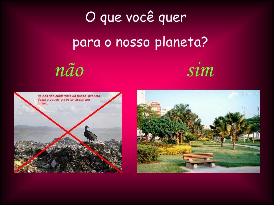 O que você quer para o nosso planeta não sim
