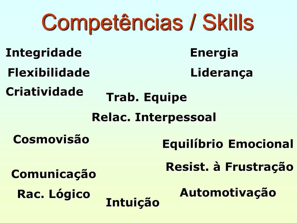 Competências / Skills Flexibilidade Criatividade Integridade Energia