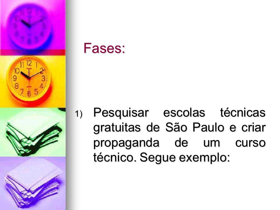 Fases: Pesquisar escolas técnicas gratuitas de São Paulo e criar propaganda de um curso técnico.