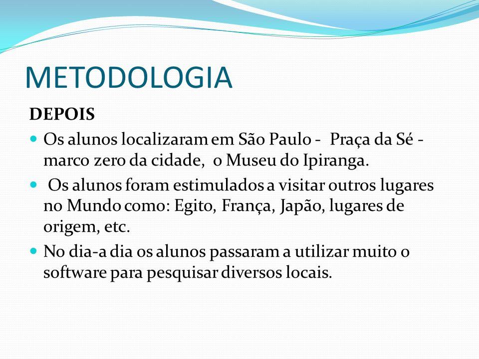 METODOLOGIA DEPOIS. Os alunos localizaram em São Paulo - Praça da Sé - marco zero da cidade, o Museu do Ipiranga.