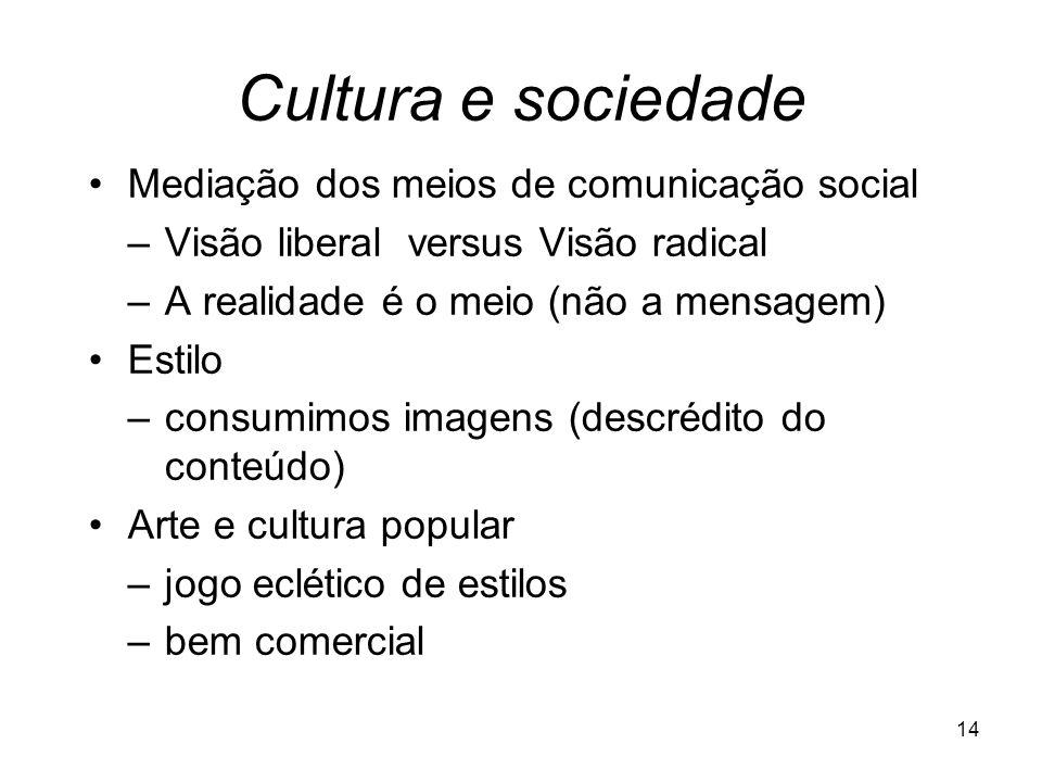 Cultura e sociedade Mediação dos meios de comunicação social