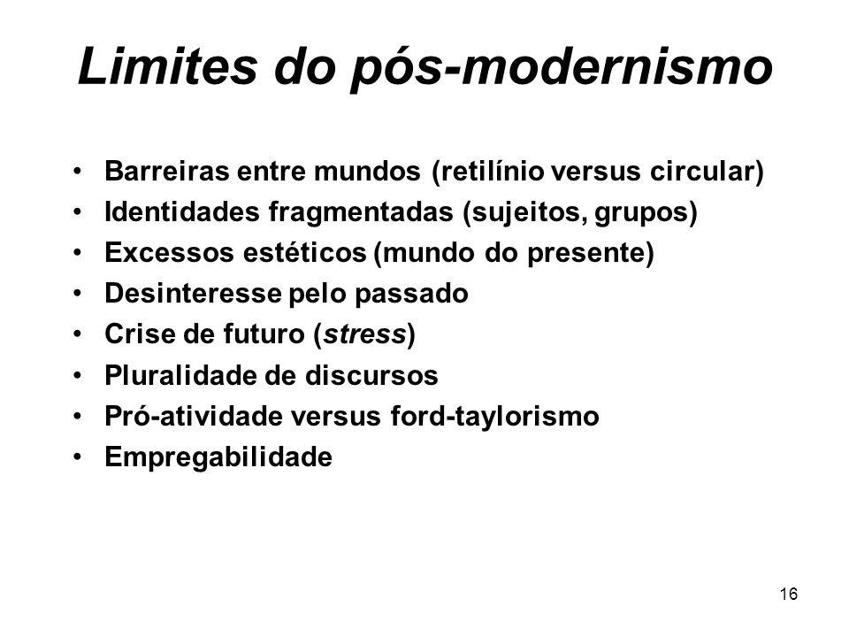 Limites do pós-modernismo