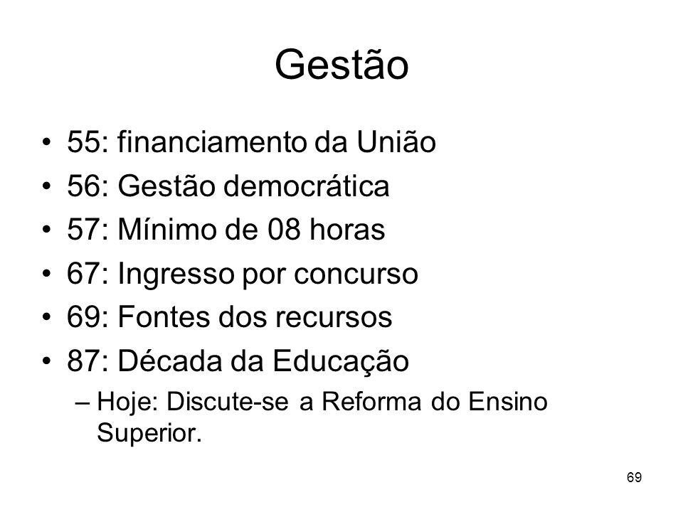 Gestão 55: financiamento da União 56: Gestão democrática