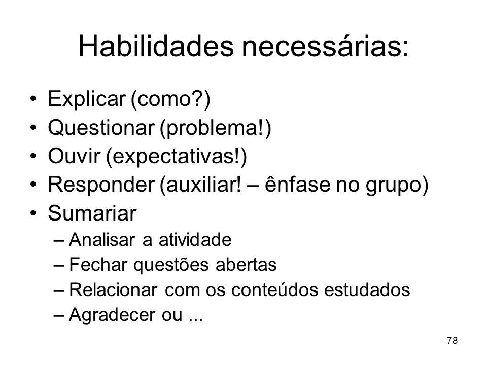 Habilidades necessárias: