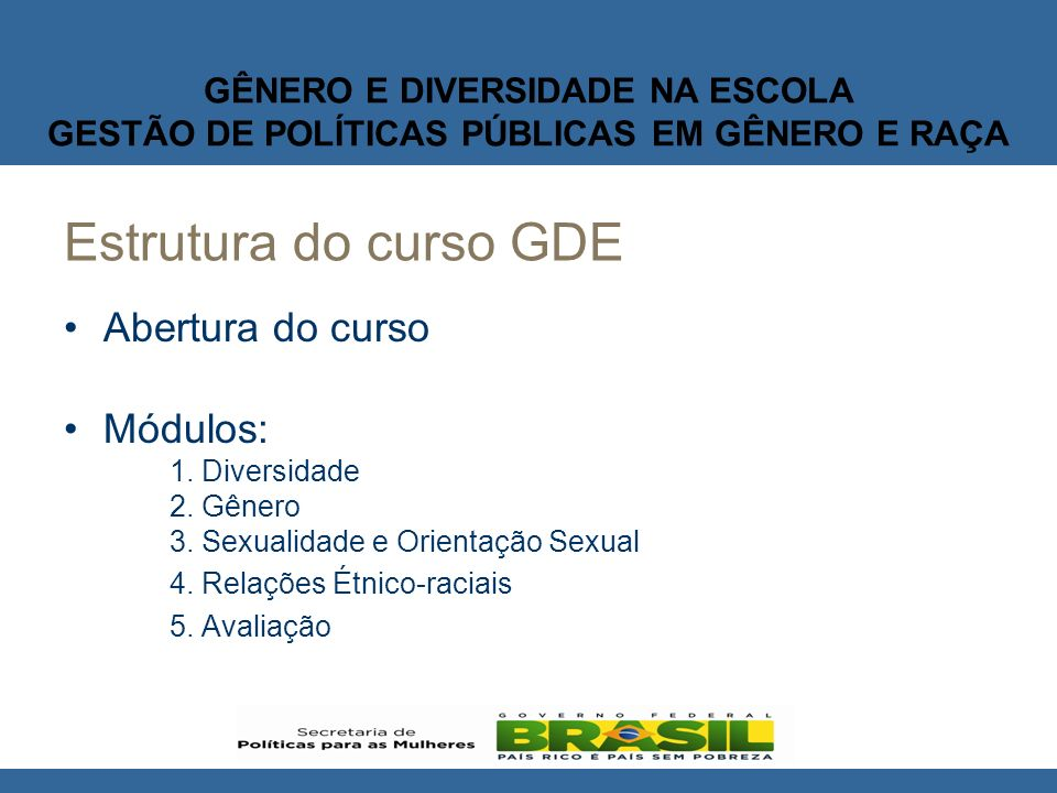 Estrutura do curso GDE Abertura do curso