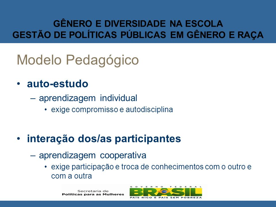 Modelo Pedagógico auto-estudo interação dos/as participantes