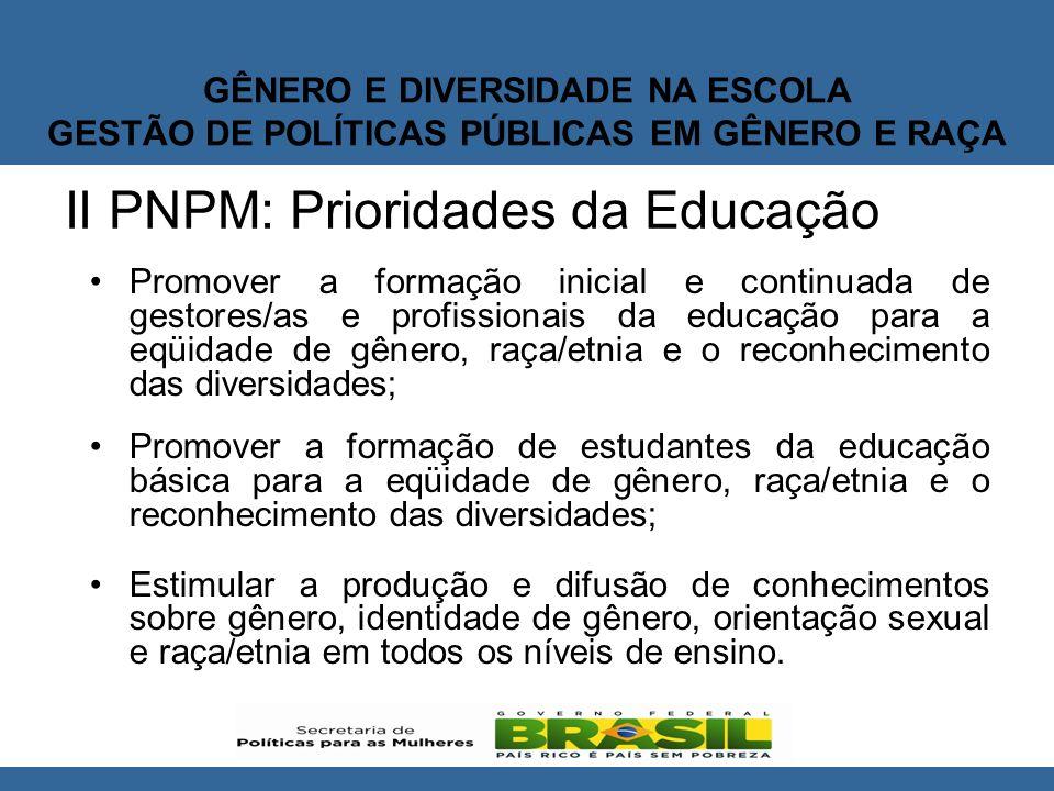 II PNPM: Prioridades da Educação