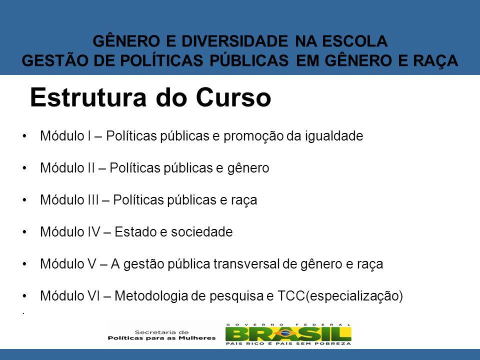 Estrutura do Curso Módulo I – Políticas públicas e promoção da igualdade. Módulo II – Políticas públicas e gênero.