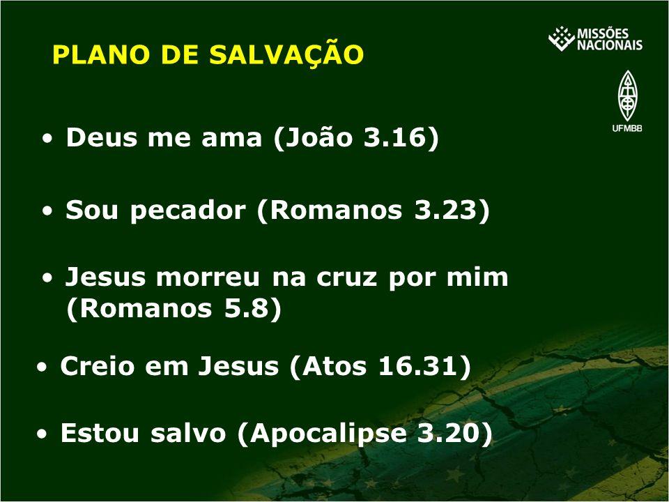 PLANO DE SALVAÇÃO Deus me ama (João 3.16) Sou pecador (Romanos 3.23) Jesus morreu na cruz por mim (Romanos 5.8)