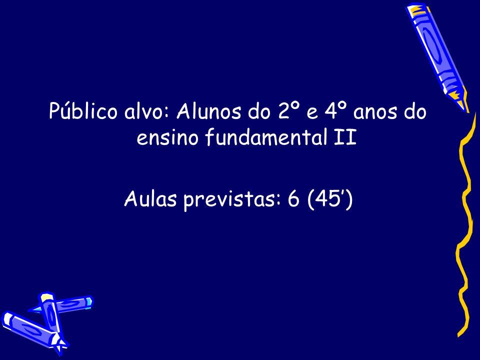 Público alvo: Alunos do 2º e 4º anos do ensino fundamental II