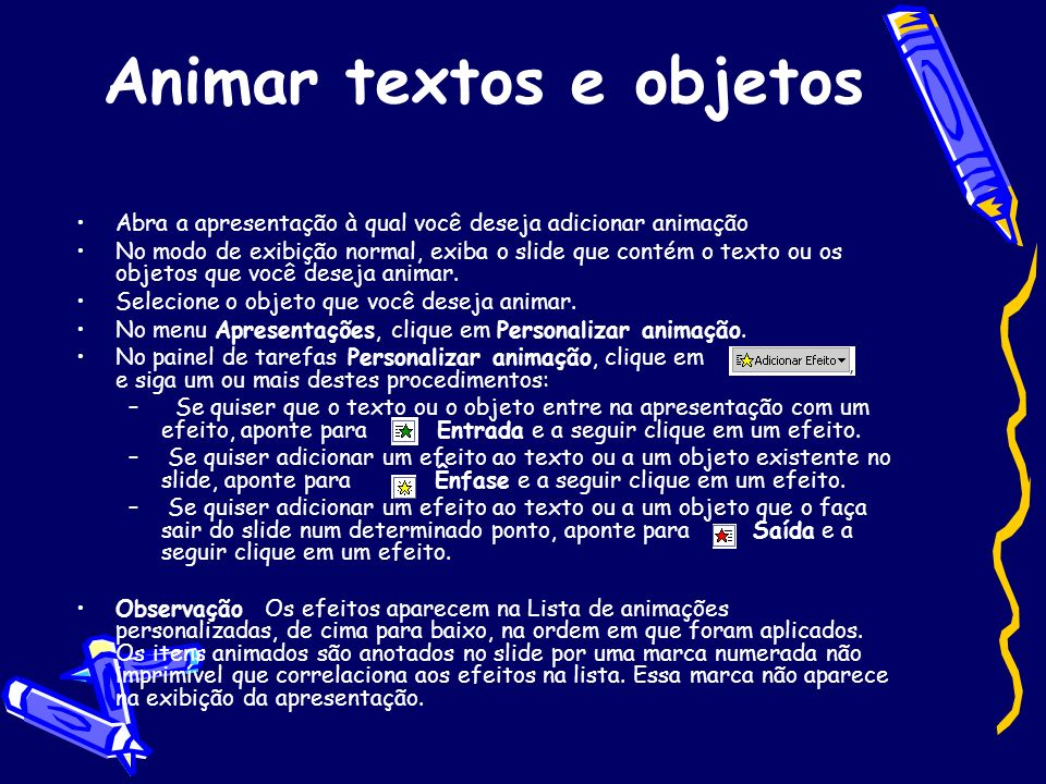 Animar textos e objetos