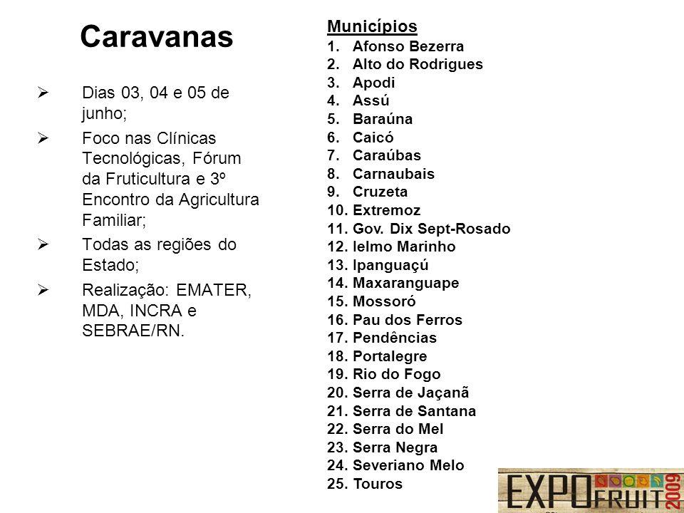 Caravanas Municípios Dias 03, 04 e 05 de junho;