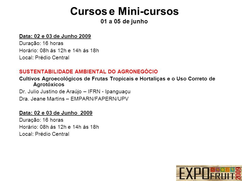 Cursos e Mini-cursos 01 a 05 de junho Data: 02 e 03 de Junho 2009