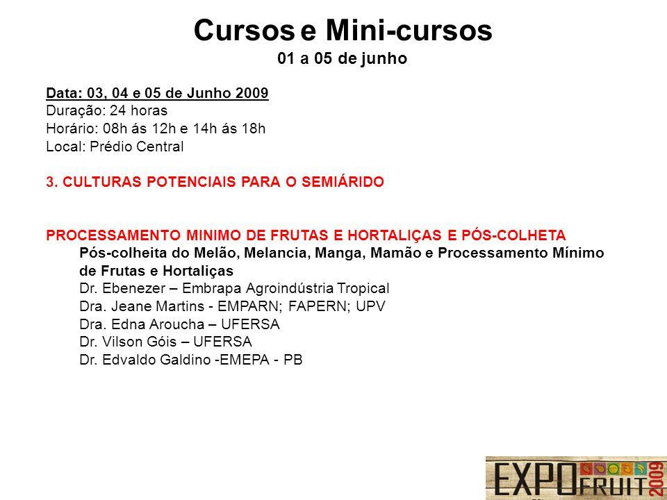 Cursos e Mini-cursos 01 a 05 de junho Data: 03, 04 e 05 de Junho 2009