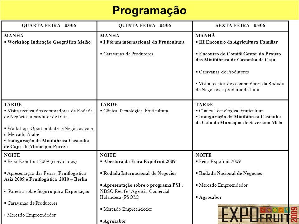 Programação QUARTA-FEIRA – 03/06 QUINTA-FEIRA – 04/06
