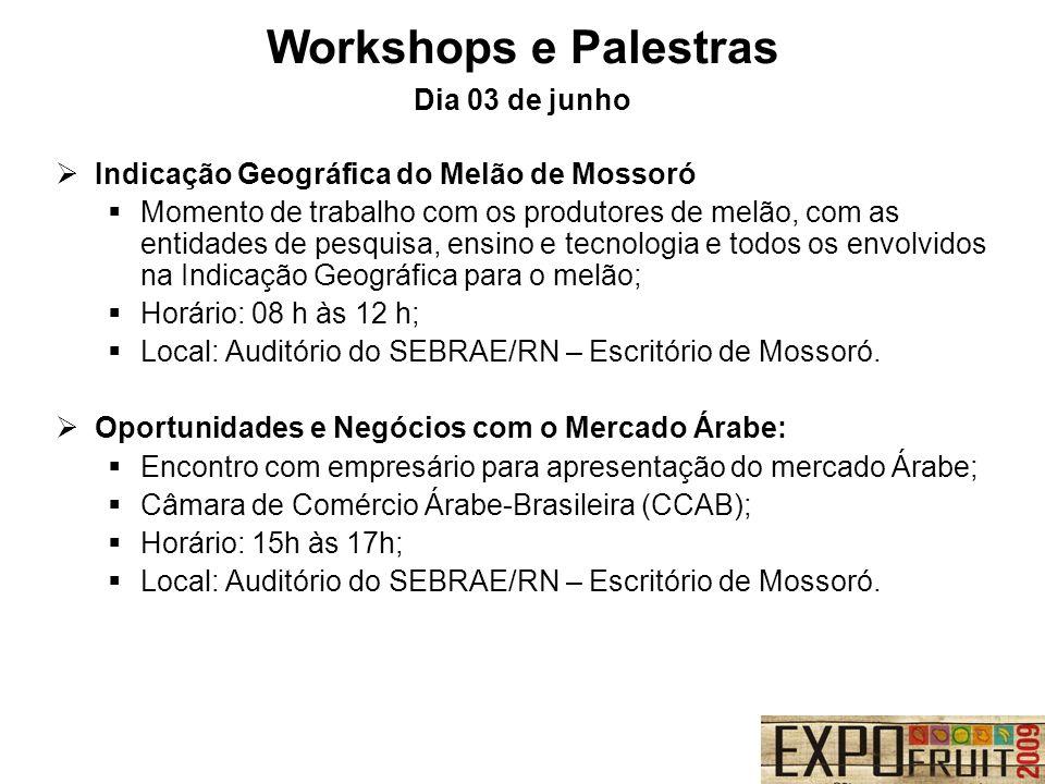 Workshops e Palestras Dia 03 de junho