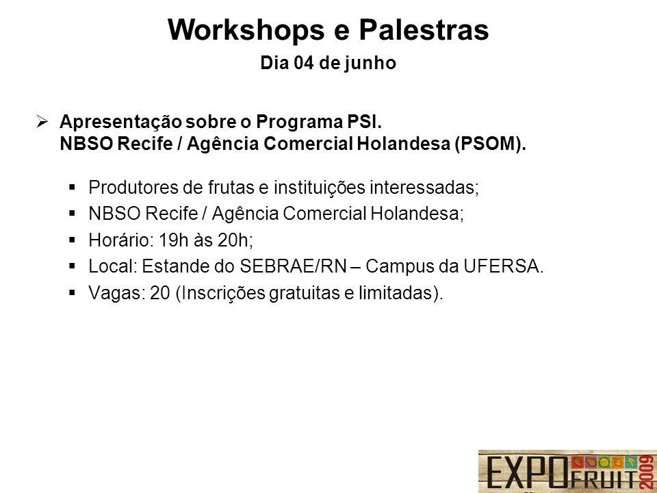 Workshops e Palestras Dia 04 de junho