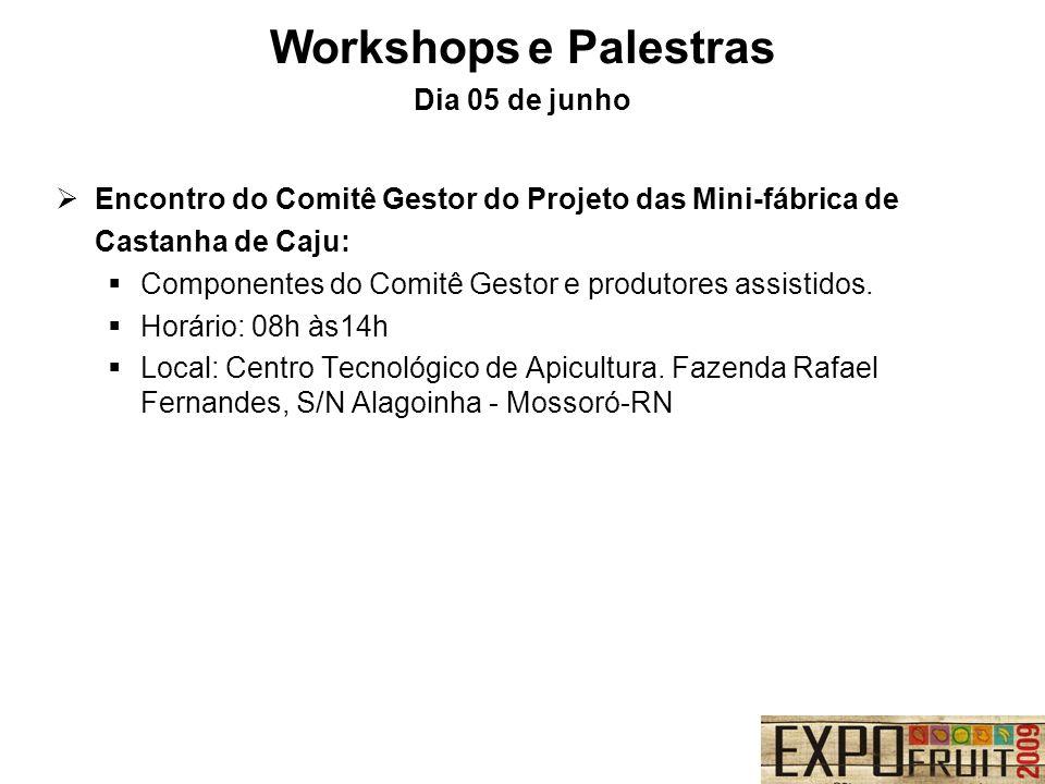 Workshops e Palestras Dia 05 de junho