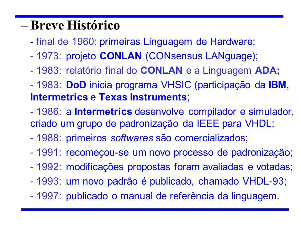 Breve Histórico - final de 1960: primeiras Linguagem de Hardware;