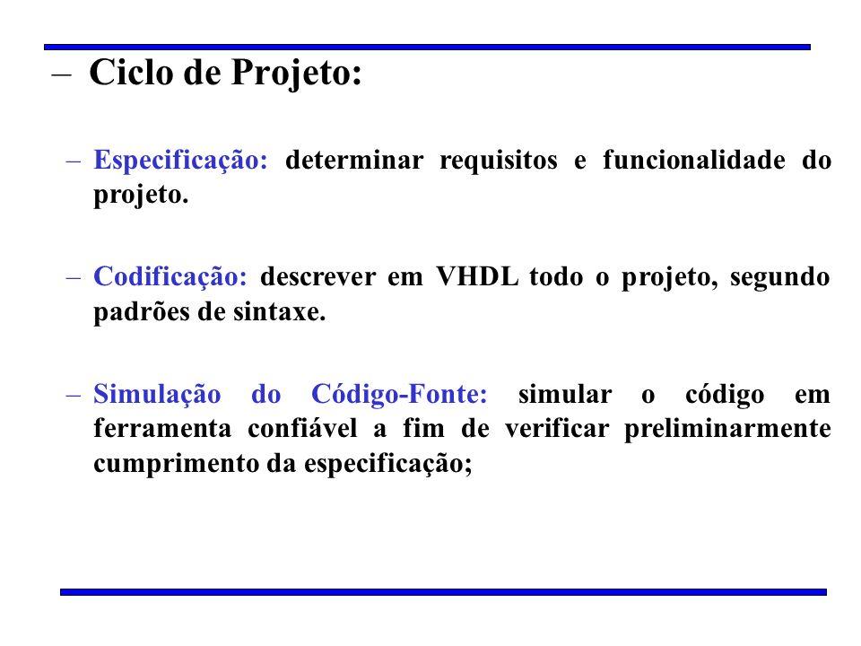 Ciclo de Projeto:Especificação: determinar requisitos e funcionalidade do projeto.