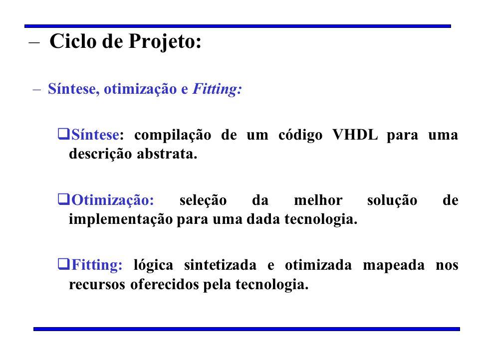 Ciclo de Projeto: Síntese, otimização e Fitting: