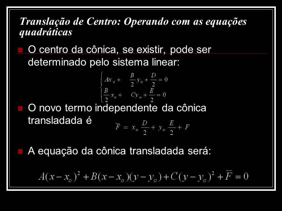 Translação de Centro: Operando com as equações quadráticas