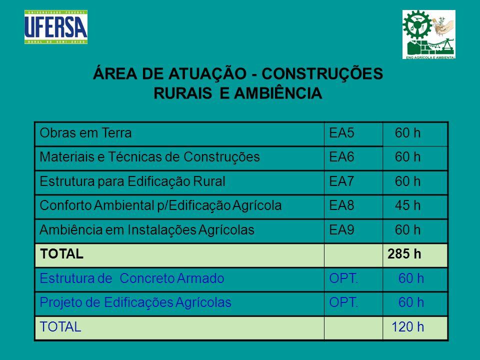 ÁREA DE ATUAÇÃO - CONSTRUÇÕES RURAIS E AMBIÊNCIA