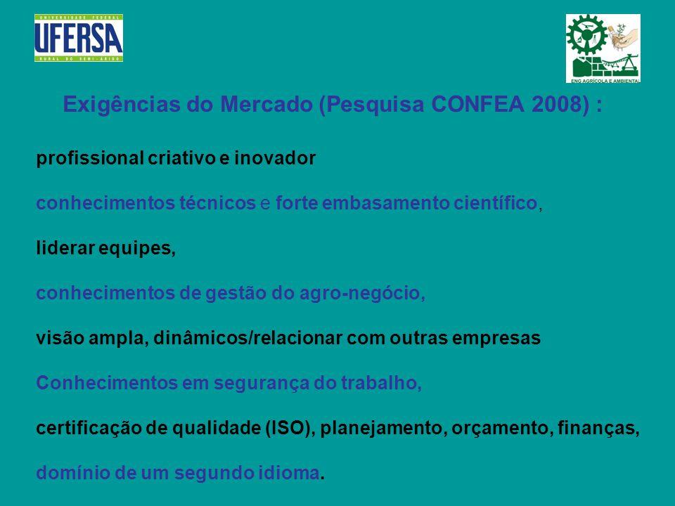 Exigências do Mercado (Pesquisa CONFEA 2008) :