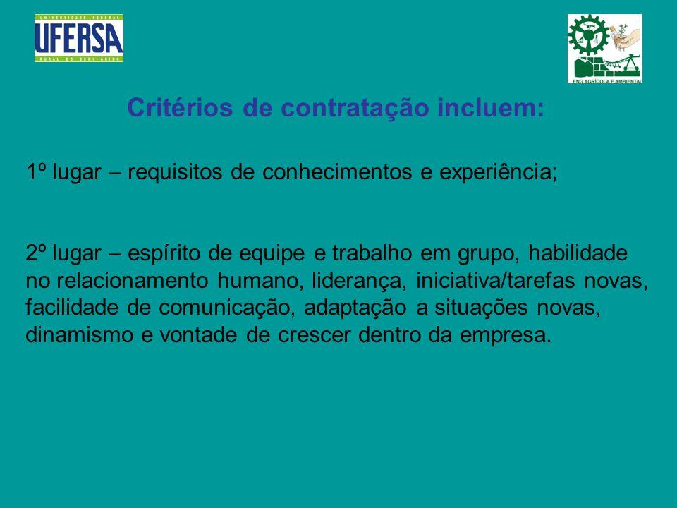 Critérios de contratação incluem: