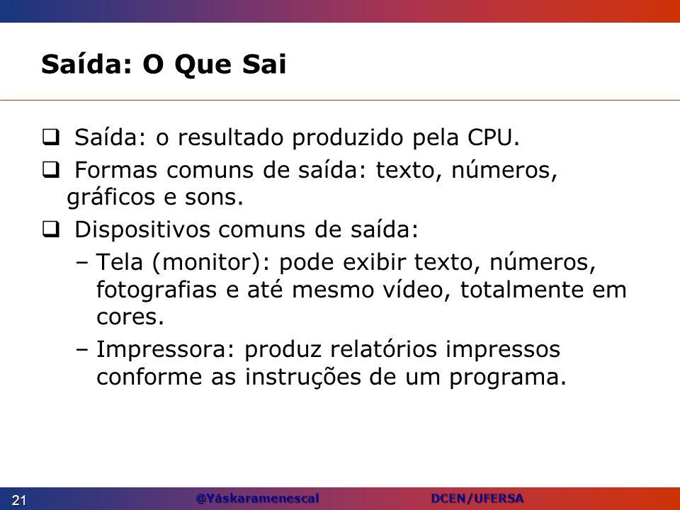 Saída: O Que Sai Saída: o resultado produzido pela CPU.