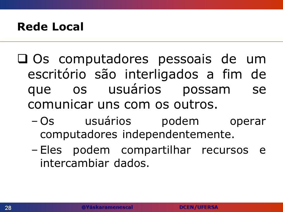 Rede LocalOs computadores pessoais de um escritório são interligados a fim de que os usuários possam se comunicar uns com os outros.