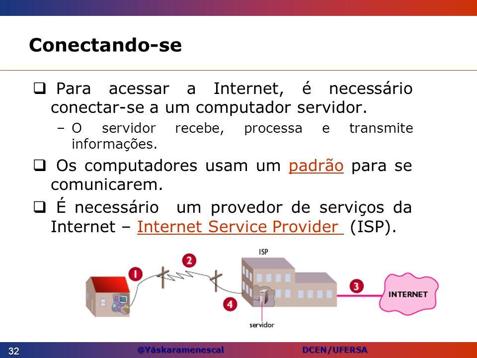 Conectando-sePara acessar a Internet, é necessário conectar-se a um computador servidor. O servidor recebe, processa e transmite informações.