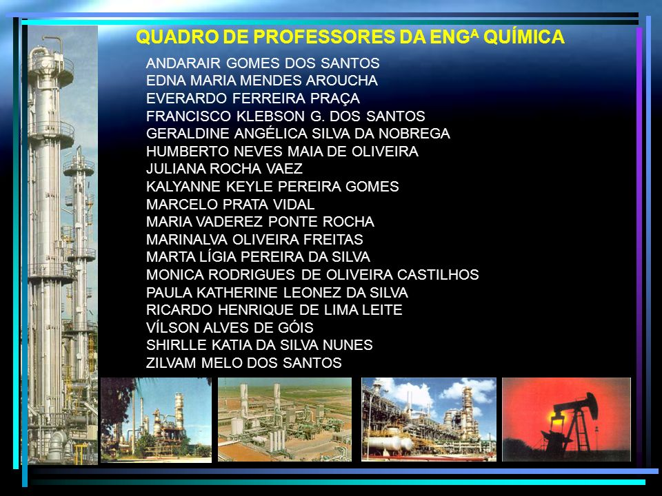 QUADRO DE PROFESSORES DA ENGA QUÍMICA